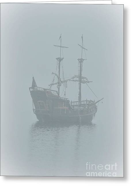 Sailboats In Water Greeting Cards - Pirate Ship Greeting Card by Joy McAdams