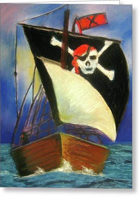 Pirate Ships Pastels Greeting Cards - Pirate Ship Greeting Card by Marita McVeigh