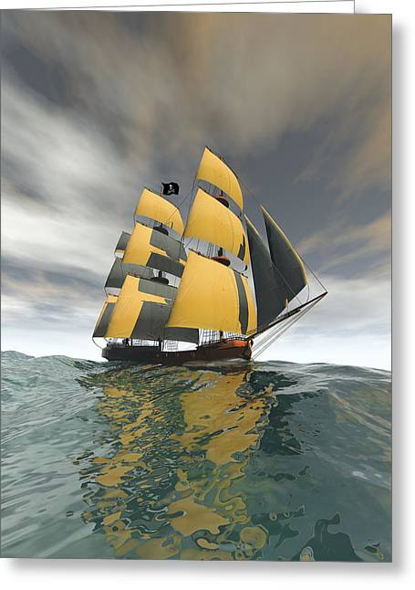 Pirate Ship Greeting Cards - Pirate Ship on the High Seas Greeting Card by Carol and Mike Werner