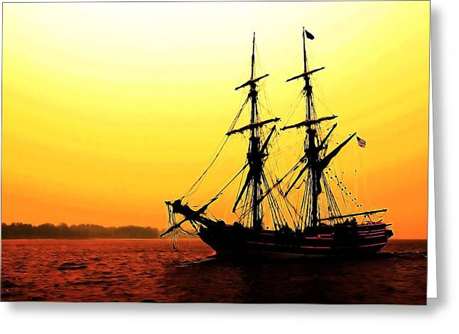 Lady Washington Greeting Cards - Pirate Ship Sunset Greeting Card by Athena Mckinzie
