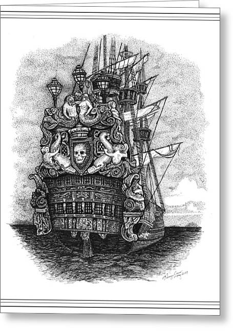 Pirate Ships Drawings Greeting Cards - Pirate ship Greeting Card by Tanya Crum
