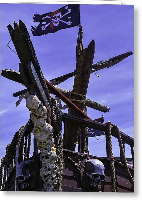 Cross Bones Greeting Cards - Pirate Ship With Black Flag Greeting Card by Garry Gay