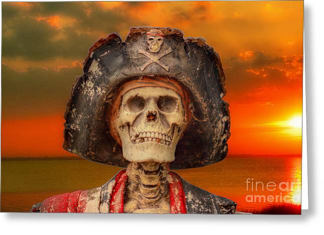 Pirates Greeting Cards - Pirate Skeleton Sunset Greeting Card by Randy Steele