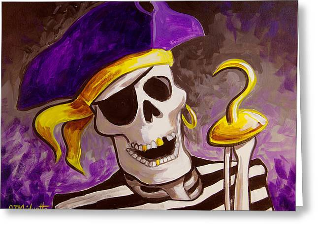 Pirates Paintings Greeting Cards - Pirate Greeting Card by Tommy Midyette