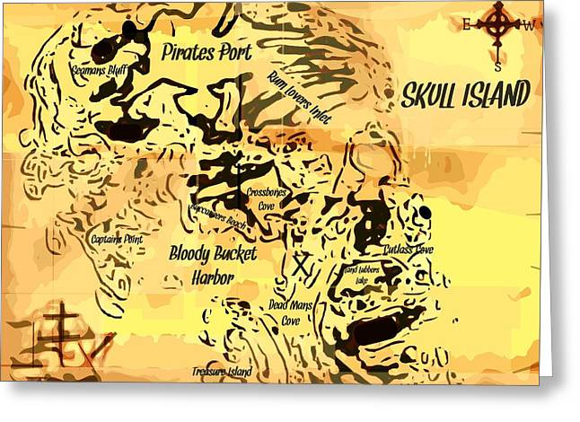 Pirate Treasure Map Skull Island  Greeting Card by Larry Lamb