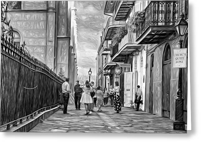 Pirate's Alley Wedding 2 Paint Bw Greeting Card by Steve Harrington