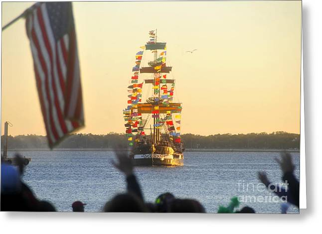 Recently Sold -  - Pirate Ships Greeting Cards - Pirates arrival Greeting Card by David Lee Thompson