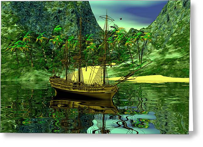 Recently Sold -  - Pirate Ships Greeting Cards - Pirates cove Greeting Card by Claude McCoy