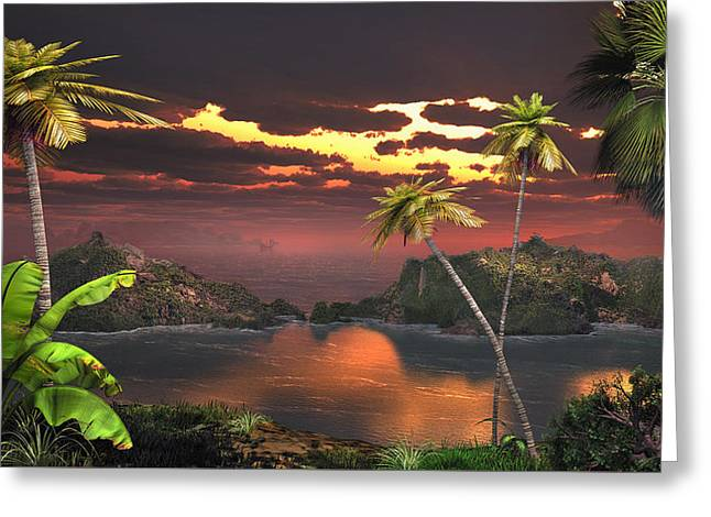 Pirate Haven Greeting Cards - Pirates Cove Greeting Card by Mary Almond