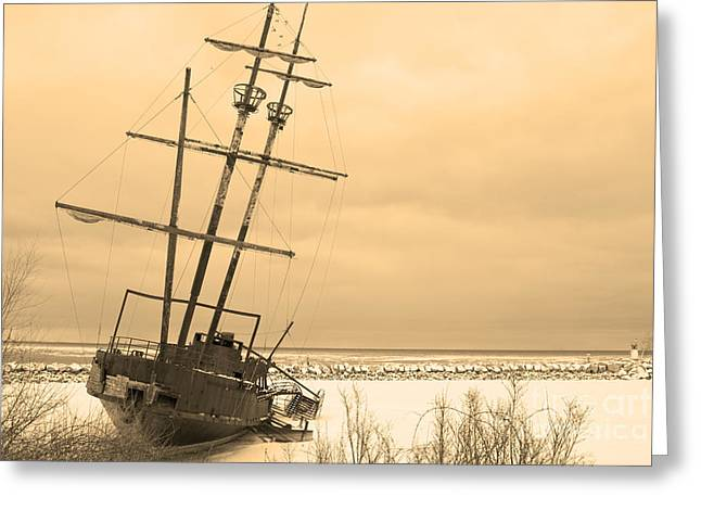 Pirates In The Harbour Greeting Card by DebraLee Wiseberg