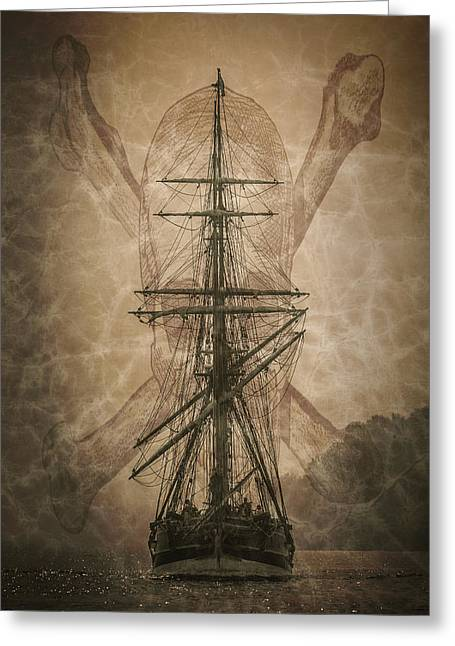 Wooden Ship Greeting Cards - Pirates Landing D9892 Greeting Card by Wes and Dotty Weber