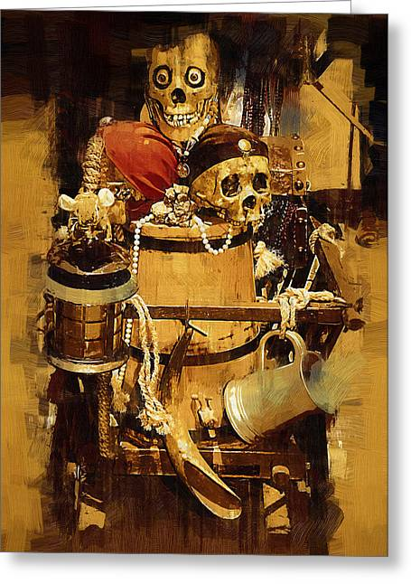 Buccaneer Paintings Greeting Cards - Pirates Loot Greeting Card by Clarence Alford
