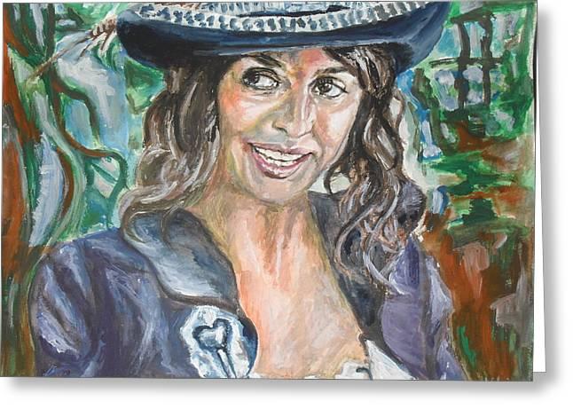 Penelope Cruz Greeting Cards - Pirates of Caribbean Portrait of Penelope Cruz Greeting Card by Agnes V