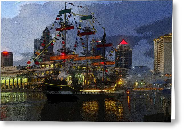 Pirate Ship Digital Greeting Cards - Pirates Plunder Greeting Card by David Lee Thompson