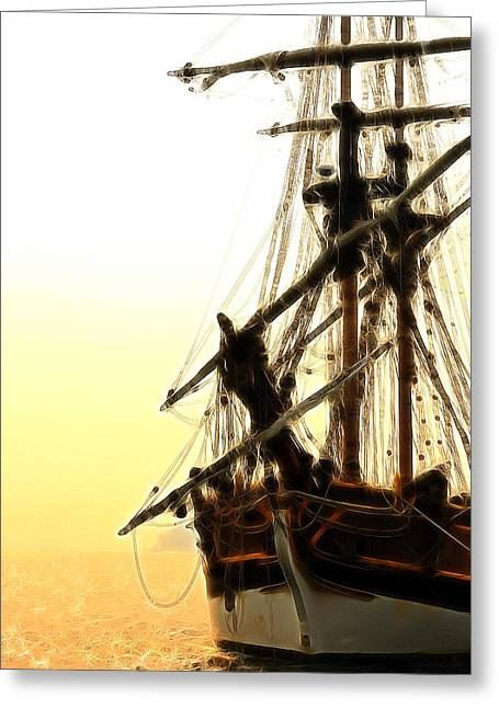 Historic Schooner Greeting Cards - Pirates Sunset Sail  Greeting Card by Athena Mckinzie