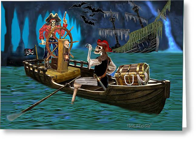 Pirate Ships Greeting Cards - Pirates Treasure Cave Greeting Card by Glenn Holbrook
