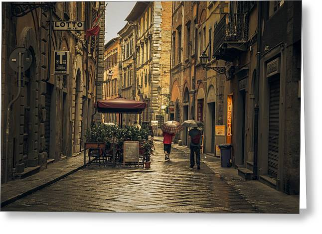 Pisa In The Rain Greeting Card by Chris Fletcher