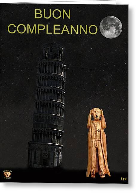 Edvard Munch Mixed Media Greeting Cards - Pisa The Scream World Tour Happy birthday Italian Greeting Card by Eric Kempson