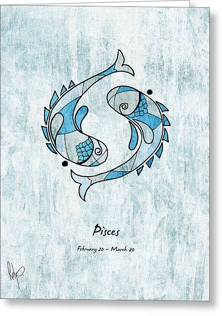 July Drawings Greeting Cards - Pisces Artwork Greeting Card by Roly Orihuela
