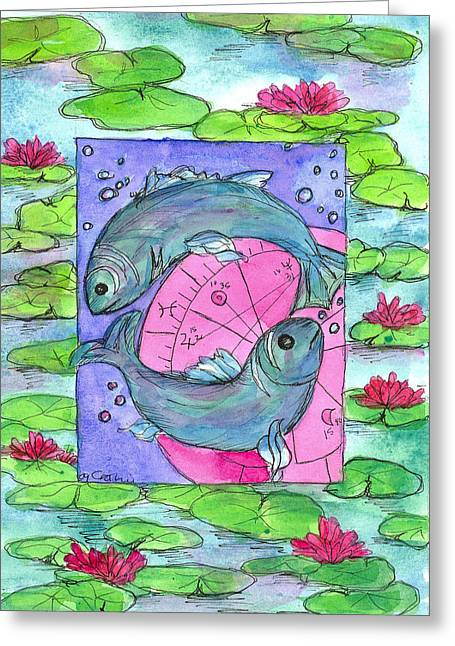 Star Fish Drawings Greeting Cards - Pisces Greeting Card by Cathie Richardson