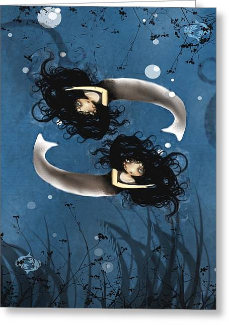 Pisces Greeting Card by Charlene Zatloukal