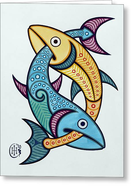 Celtic Knotwork Greeting Cards - Pisces Greeting Card by Ian Herriott