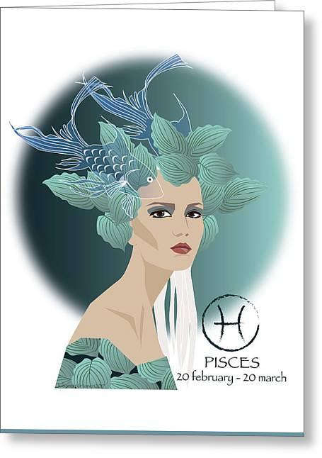 Pisces Greeting Card by Johanna Virtanen
