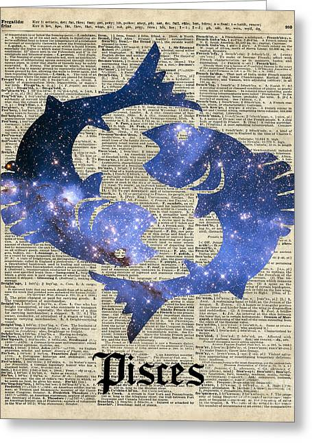 Office Space Mixed Media Greeting Cards - Pisces  The Fish  Zodiac Sign Greeting Card by Jacob Kuch