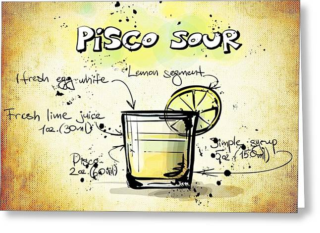 Gathering Mixed Media Greeting Cards - Pisco Sour Greeting Card by Movie Poster Prints
