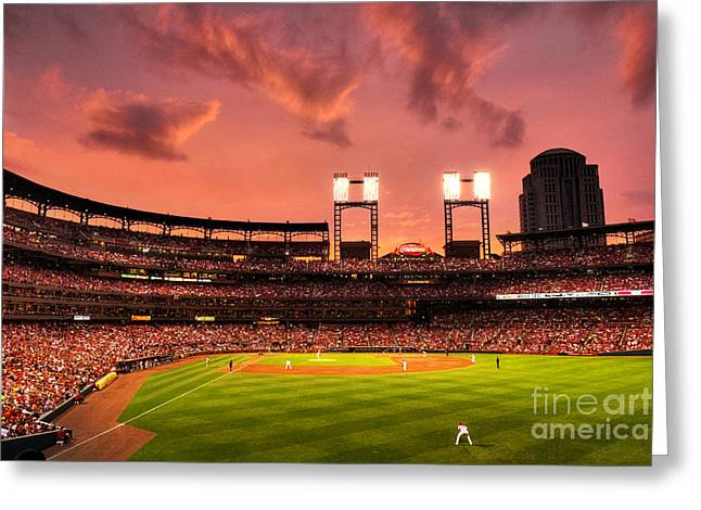 Baseball Stadiums Greeting Cards - Piscotty in Left Field Greeting Card by William Fields