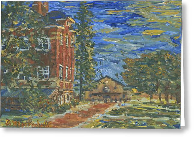 Brewer Paintings Greeting Cards - Piskor Hall On An August Evening Greeting Card by Denny Morreale