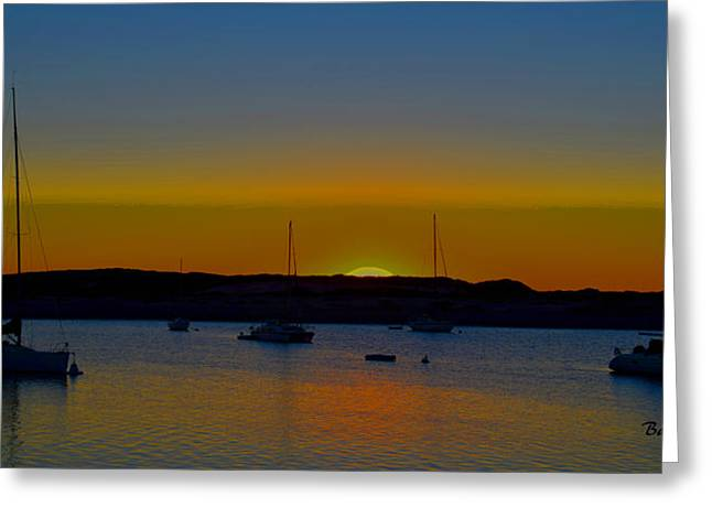 Morro Bay California Sunset Abstract Greeting Card by Barbara Snyder
