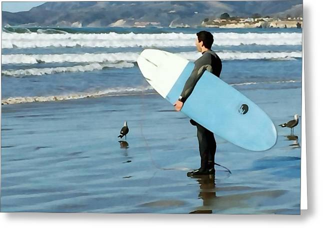 Pismo Beach Surfer Greeting Card by Art Block Collections