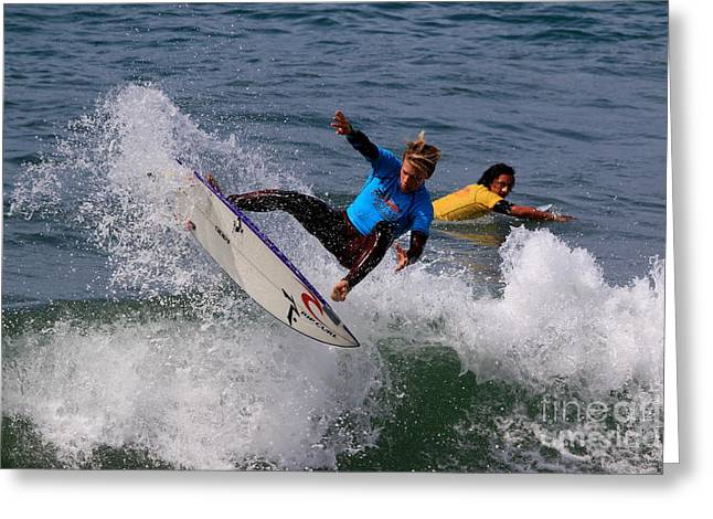 Cut-outs Greeting Cards - Pismo Beach Surfing Contest 23 Greeting Card by Craig Corwin