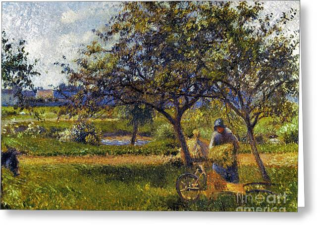Farmers Field Greeting Cards - Pissarro: Wheelbarr., 1881 Greeting Card by Granger
