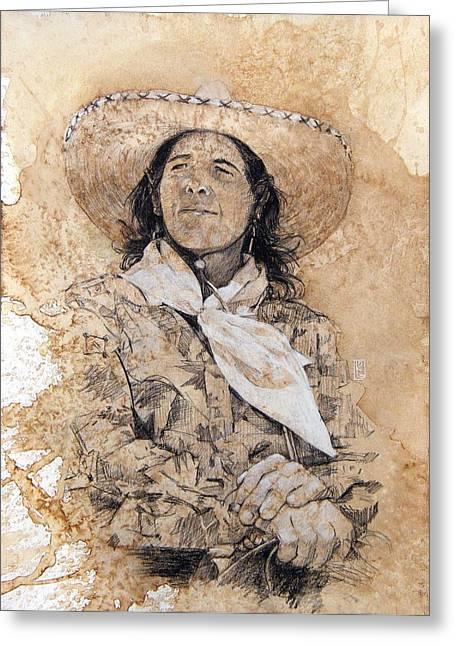 Award Drawings Greeting Cards - Pistol Packin Cowgirl Greeting Card by Debra Jones