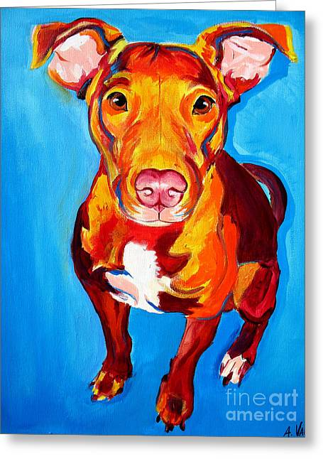 Pit Bull - Chino Greeting Card by Alicia VanNoy Call