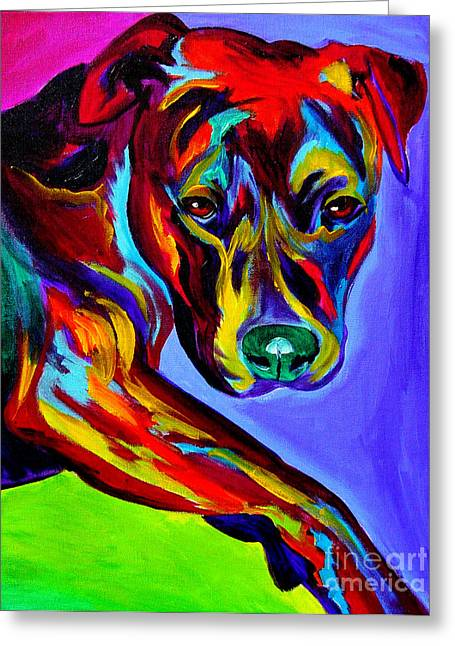 Alicia Vannoy Call Paintings Greeting Cards - Pit Bull - Gaze Greeting Card by Alicia VanNoy Call