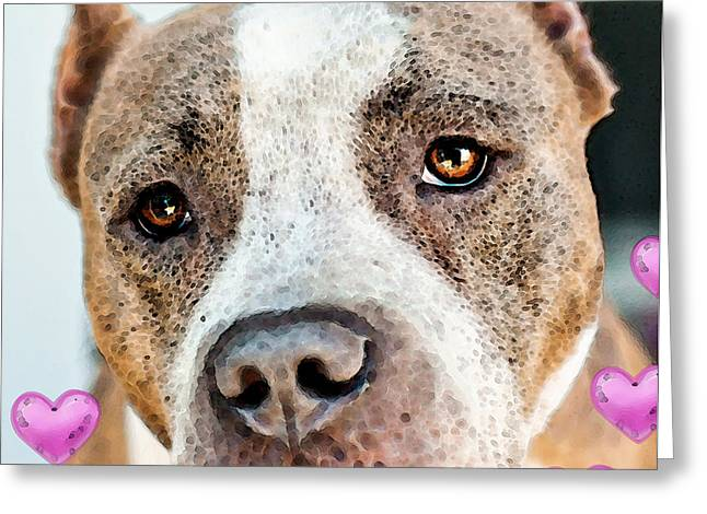 Rescued Animals Greeting Cards - Pit Bull Dog - Pure Love Greeting Card by Sharon Cummings