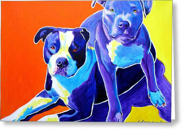 Alicia Vannoy Call Paintings Greeting Cards - Pit Bulls - Diamond and Deisel Greeting Card by Alicia VanNoy Call