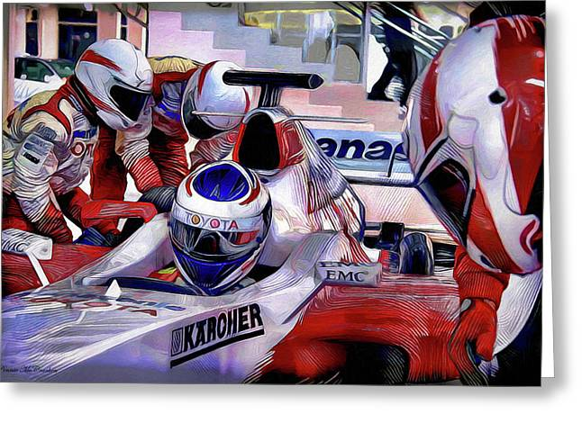 Monoco Greeting Cards - Pit Stop Greeting Card by Pennie  McCracken