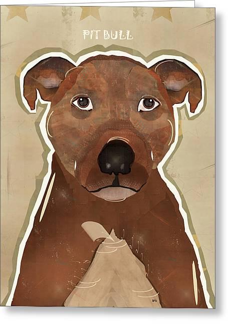 Pitty Greeting Cards - Pitbull Dog Art Greeting Card by Bri Buckley