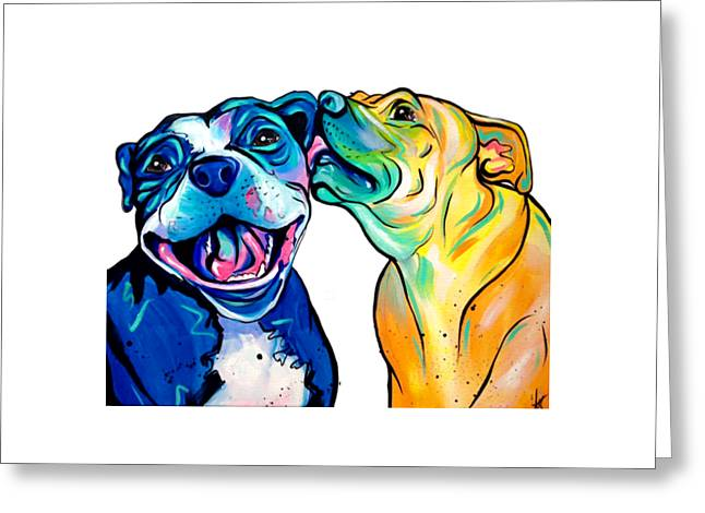 Pitbull Kisses Greeting Card by Abbi Kay
