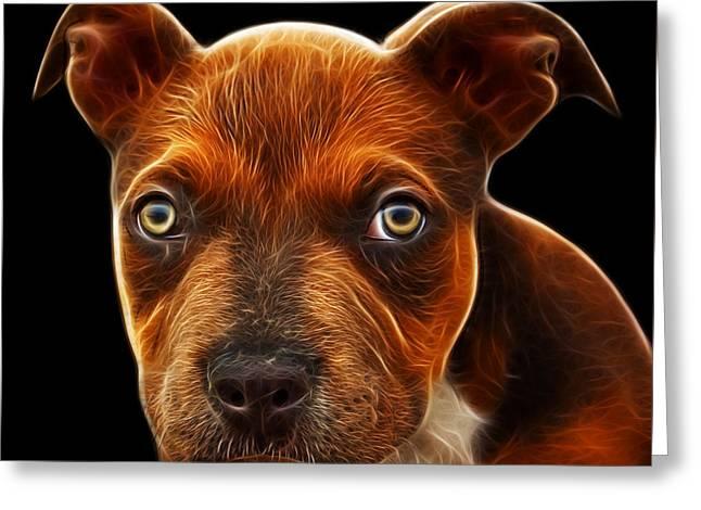 Pitbull Puppy Pop Art - 7085 Bb Greeting Card by James Ahn