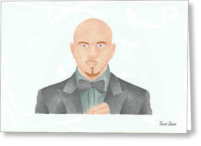 Pitbull Greeting Card by Toni Jaso