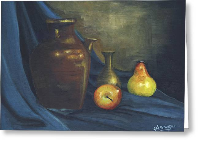 Pitcher And Fruit Greeting Card by Debbie McIntyre