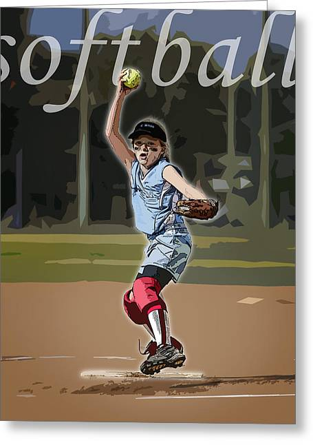 Girls Softball Greeting Cards - Pitcher Greeting Card by Kelley King