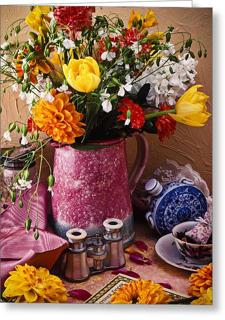 Tea Cup Greeting Cards - Pitcher of flowers still life Greeting Card by Garry Gay