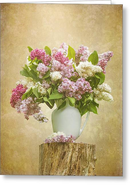 Flower Design Greeting Cards - Pitcher of Lilacs Greeting Card by Patti Deters