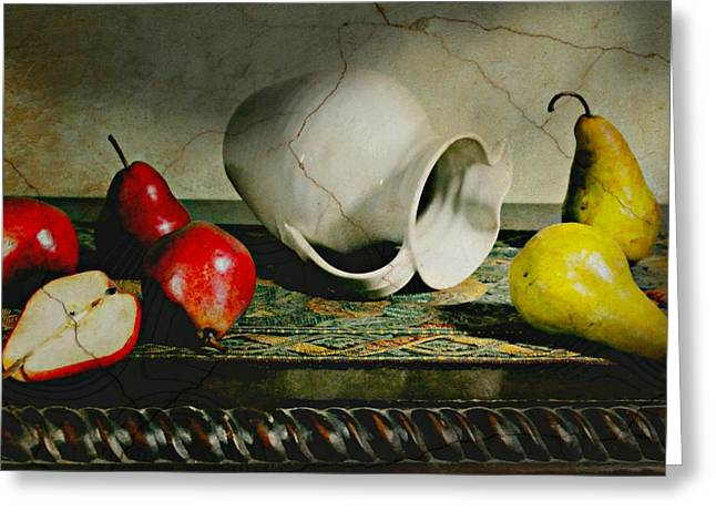 Still Life With Pears Greeting Cards - Pitcher Pears Greeting Card by Diana Angstadt